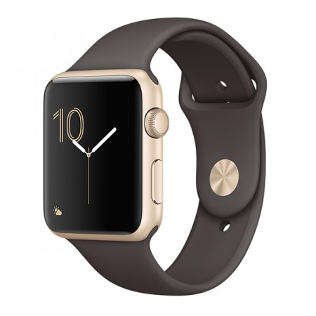 Умные часы Apple Watch Series 1 42mm Gold Aluminum Case with Cocoa Sport Band (MNNN2) фото 1