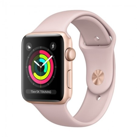 Умные часы Apple Watch S3 GPS 38mm Gold Aluminium Case with Pink Sand Sport Band (MQKW2) фото 1