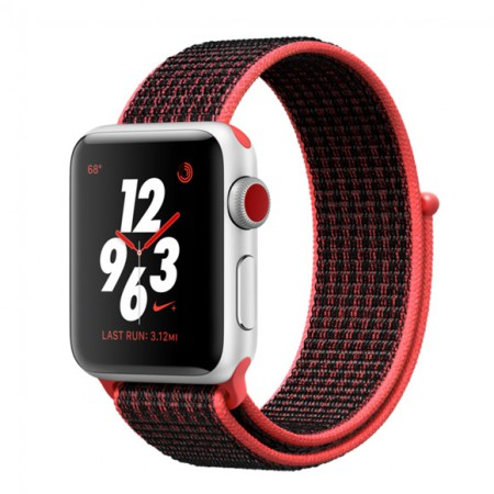 Умные часы Apple Watch S3 Nike+ 38mm GPS+Cellular Silver Aluminum Case with Bright Crimson/Black Nike Sport Loop (MQL72) фото 1