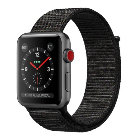 Умные часы Apple Watch S3 GPS+Cellular 42mm Space Gray Aluminum Case with Black Sport Loop (MRQF2) фото 1