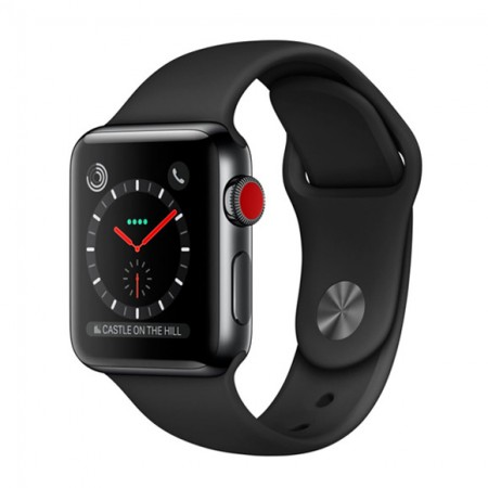 Умные часы Apple Watch S3 GPS+Cellular 38mm Space Gray Aluminium Case with Black Sport Band (MQJP2) фото 1
