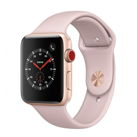 Умные часы Apple Watch S3 GPS+Cellular 42mm Gold Aluminium Case with Pink Sand Sport Band (MQK32) фото 1