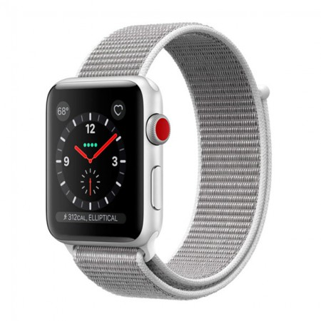 Умные часы Apple Watch S3 GPS+Cellular 42mm Silver Aluminum Case with Seashell Sport Loop (MQK52) фото 1