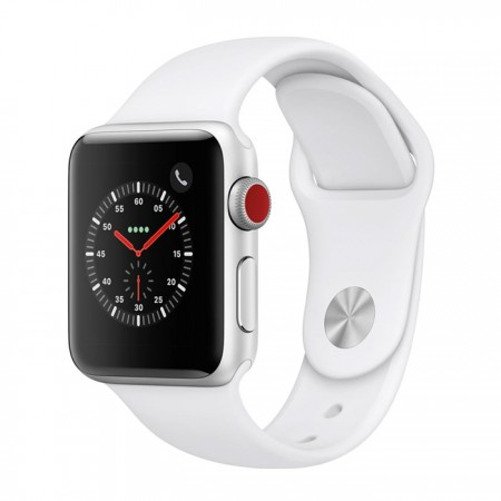 Умные часы Apple Watch S3 GPS+Cellular 42mm Silver Aluminum Case with White Sport Band (MTGR2) фото 1