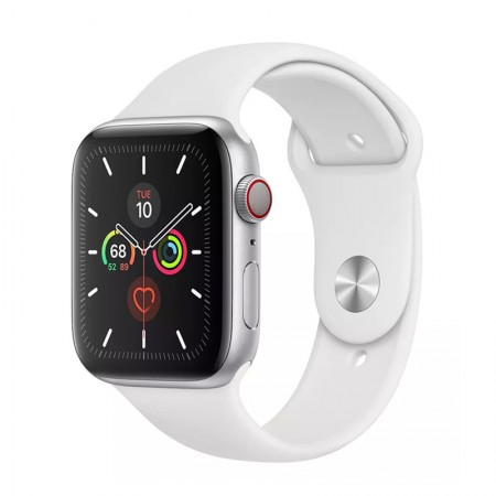 Умные часы Apple Watch Series 5 GPS + Cellular, 44 мм, Silver Aluminum Case with White Sport Band (MWVY2) фото 1