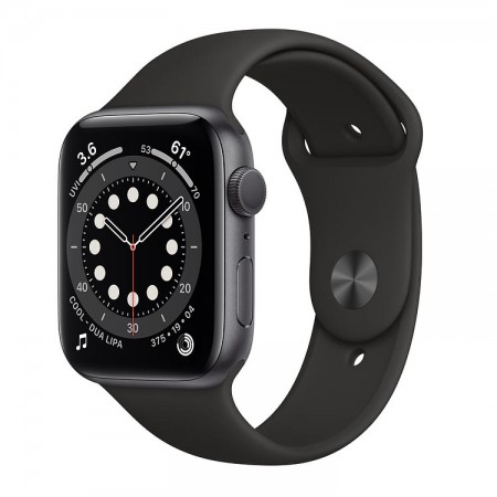Часы Apple Watch Series 6 44mm Aluminum Case with Sport Band Space Gray/Black (Серый космос/Черный) M00H3 фото 1