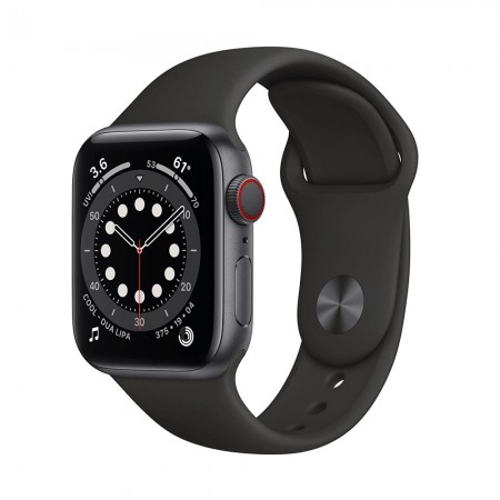 Часы Apple Watch Series 6 40mm LTE Aluminum Case with Sport Band Space Gray/Black (Серый космос/Черный) M02Q3 фото 1