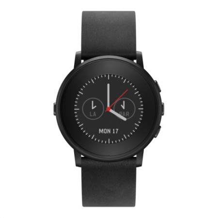 Умные часы Pebble Time Round 22mm Black with Nero Black Leather фото 1