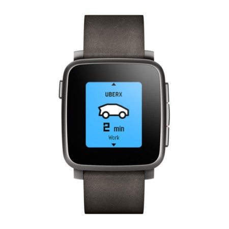 Умные часы Pebble Time Steel — Black with Leather Band фото 1
