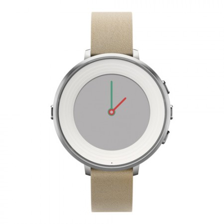 Умные часы Pebble Time Round 14mm Silver with Stone Leather фото 1