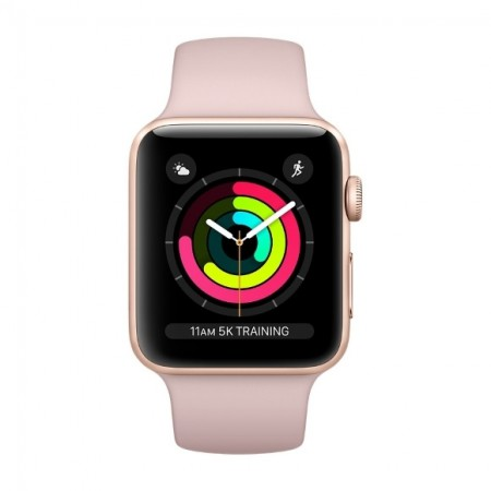 Умные часы Apple Watch S3 GPS 38mm Gold Aluminium Case with Pink Sand Sport Band (MQKW2) фото 2