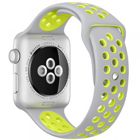 Умные часы Apple Watch Nike+ 42mm Silver Aluminum Case with Flat Silver/Volt Nike Sport Band (MNYQ2) фото 4