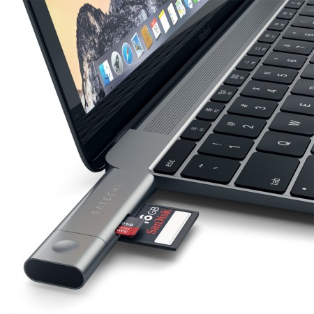 Карт-ридер Satechi Aluminum Type-C USB 3.0 and Micro/SD Card Reader, Space Gray фото 5