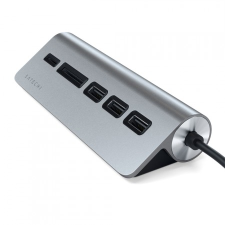 Хаб и карт-ридер Satechi Aluminum USB 3.0 Hub & Card Reader, Space Gray фото 1