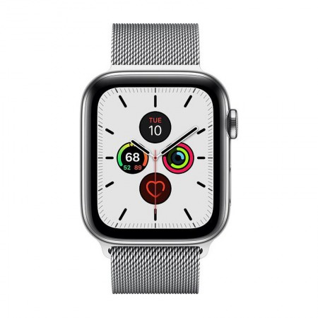Умные часы Apple Watch Series 5 GPS + Cellular, 44 мм, Stainless Steel Case with Silver Milanese Loop (MWW32) фото 1