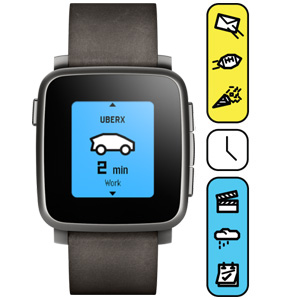 Умные часы Pebble Time Steel — Black with Leather Band  фото