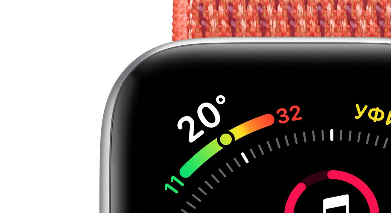 Умные часы Apple Watch Series 5 GPS, 44 мм, корпус из алюминия серебристого цвета, спортивный ремешок белого цвета (MWVD2)  фото
