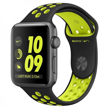 Умные часы Apple Watch Nike+ 38mm Space Gray Aluminum Case with Black/Volt Nike Sport Band (MP082)