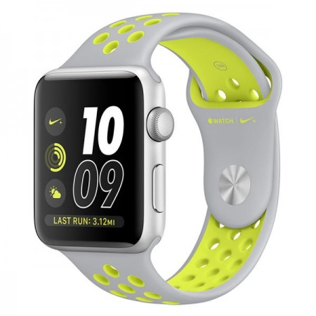 Умные часы Apple Watch Nike+ 42mm Silver Aluminum Case with Flat Silver/Volt Nike Sport Band (MNYQ2)