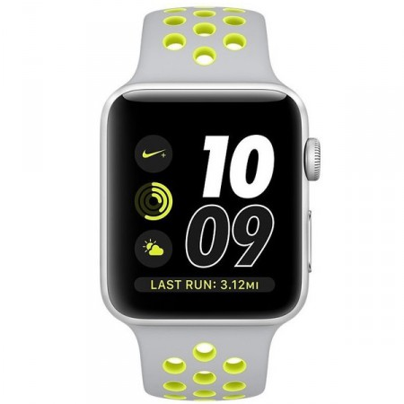 Умные часы Apple Watch Nike+ 38mm Silver Aluminum Case with Flat Silver/Volt Nike Sport Band (MNYP2)