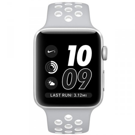 Умные часы Apple Watch Nike+ 38mm Silver Aluminum Case with Flat Silver/White Nike Sport Band (MNNQ2)